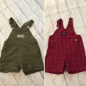 2x Infant Boys Size 18 Months Overalls Shorts